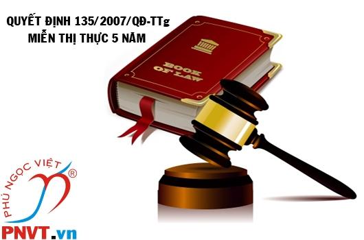 Quyết định số 135/2007/QĐ-TTg về ban hành quy chế miễn thị thực 5 năm