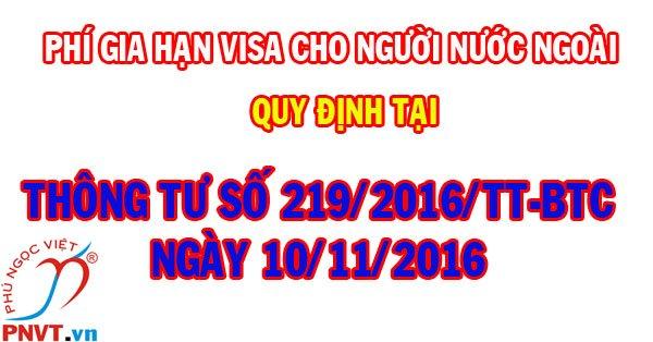 biểu phí gia hạn visa