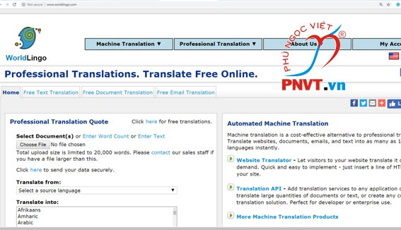 dịch thuật tiếng anh online bằng worldlingo