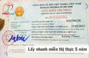 miễn thị thực 5 năm
