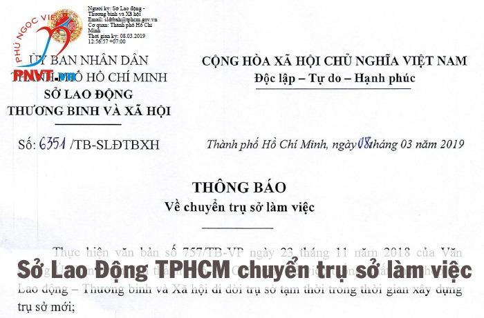 Sở Lao động Thương binh và Xã hội TPHCM chuyển trụ sở làm việc