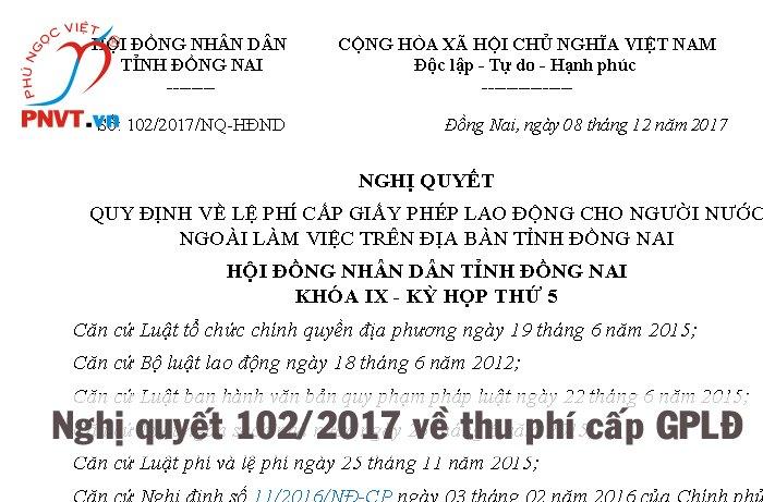 Phí cấp giấy phép lao động ở Đồng Nai