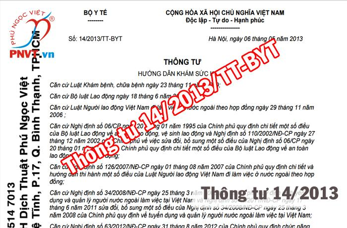 thông tư số 14/2013/TT-BYT
