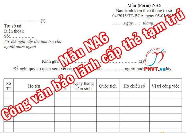 Công văn bảo lãnh làm thẻ tạm trú cho thân nhân người nước ngoài tại Việt Nam