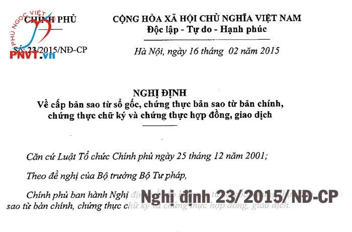 Nghị định 23/2015/NĐ-CP