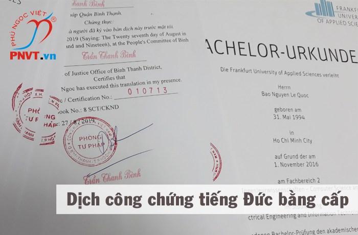 Dịch công chứng tiếng Đức Chứng chỉ bằng cấp