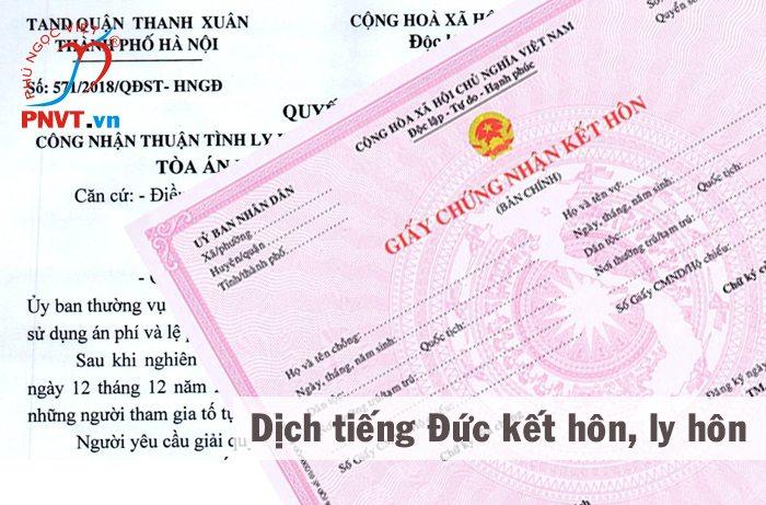 Dịch công chứng tiếng Đức giấy ly hôn, kết hôn