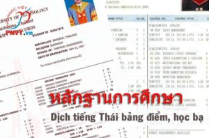 Dịch công chứng tiếng Thái bảng điểm, học bạ