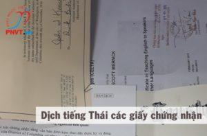 Dịch công chứng tiếng Thái giấy chứng nhận các loại