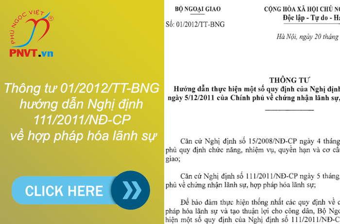 Thông tư 01/2012/TT-BNG hướng dẫn Nghị định 111/2011/NĐ-CP về chứng nhận lãnh sự, hợp pháp hóa lãnh sự
