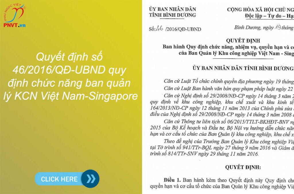Quyết định số 46/2016/QĐ-UBND quy định chức năng ban quản lý KCN Việt Nam-Singapore