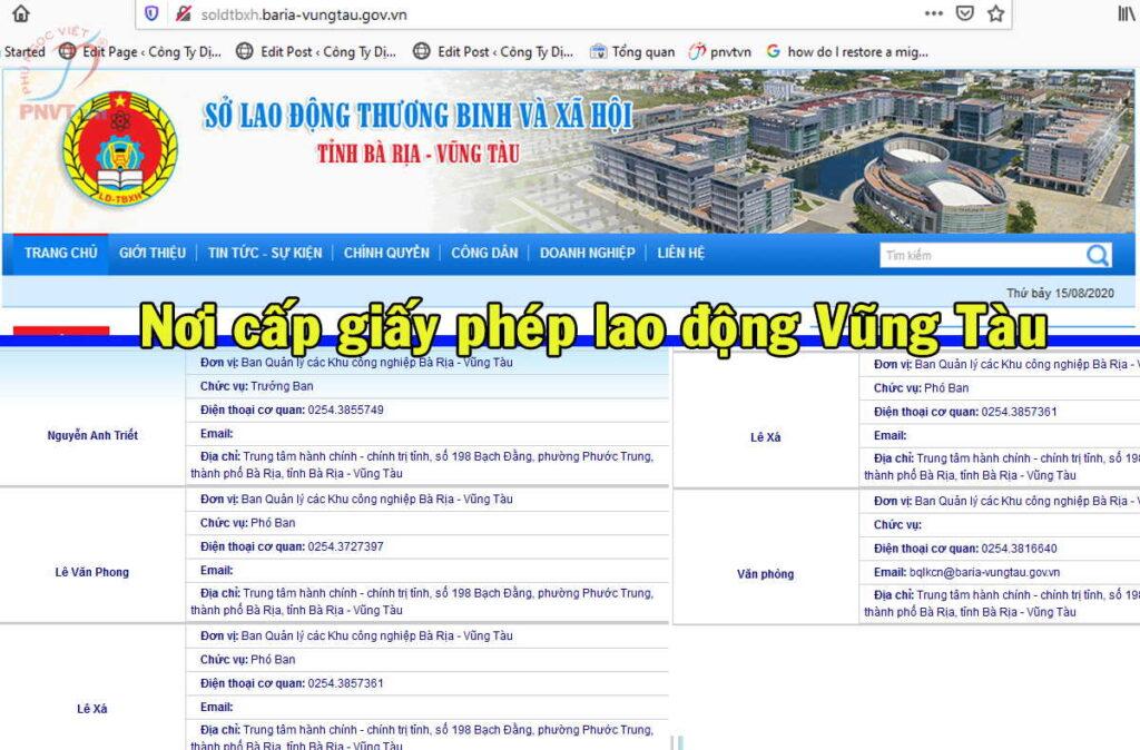 Cơ quan có thẩm quyền cấp giấy phép lao động ở Bà Rịa Vũng Tàu