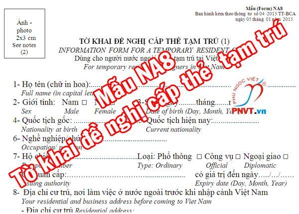 Hướng dẫn cách điền mẫu đơn xin cấp thẻ tạm trú cho người nước ngoài