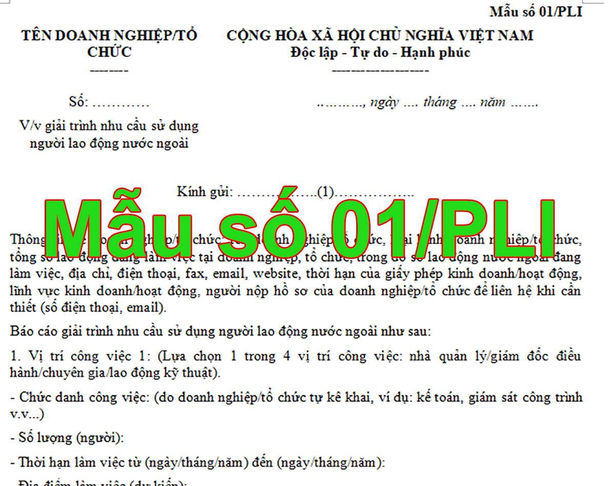 Mẫu số 01/PLI Về việc giải trình nhu cầu sử dụng người lao động nước ngoài
