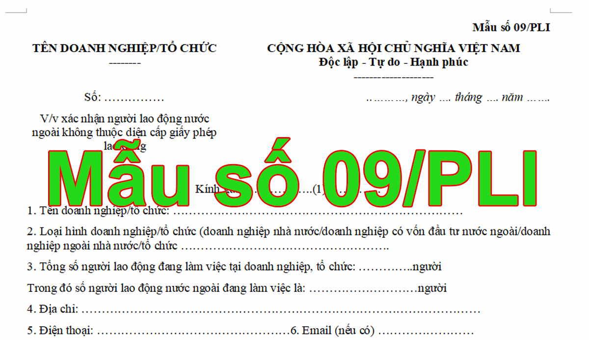 Mẫu số 09/PLI xác nhận người lao động nước ngoài không thuộc diện cấp giấy phép lao động