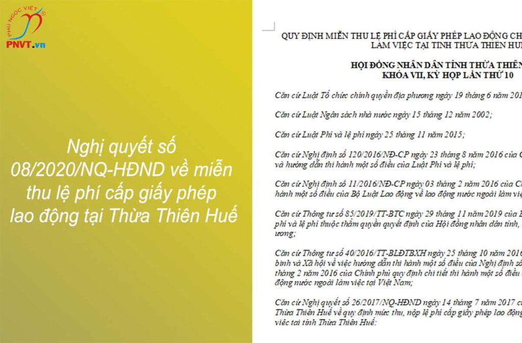 Nghị quyết số 08/2020/NQ-HĐND về miễn thu lệ phí cấp giấy phép lao động tại Thừa Thiên Huế