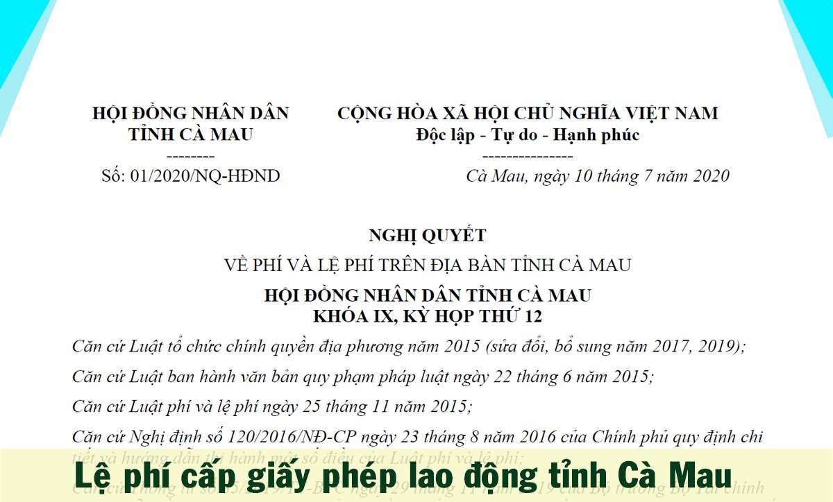 lệ phí cấp giấy phép lao động tỉnh Cà Mau