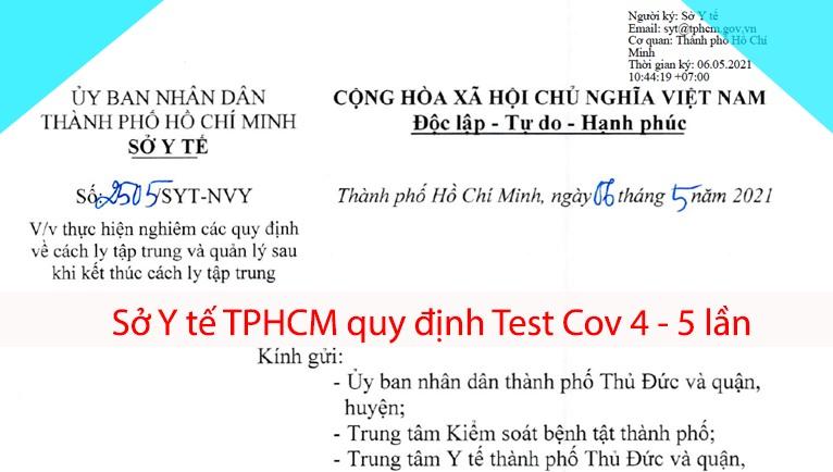 Sở Y tế TPHCM quy định Test Cov 4-5 lần