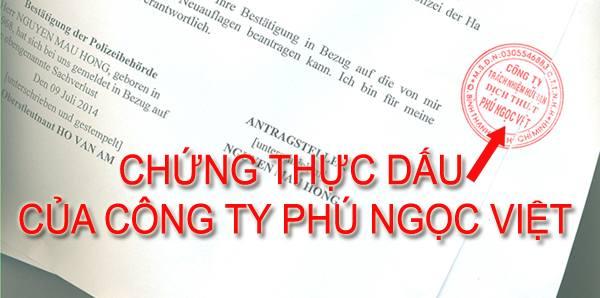 Chứng thực dấu Công Ty lên bản dịch