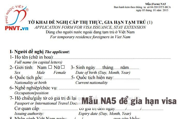 mẫu đơn đề nghị xin gia hạn visa việt nam